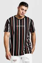 BoohoomanBoohooMAN Mens Black Loose Fit Stripe Embroidered T-Shirt, Black