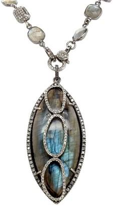 Nina Gilin Black Rhodium Silver, Labradorite & Diamond Pendant Necklace