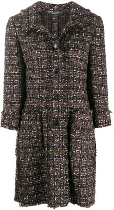 Dolce & Gabbana Tweed Mid-Length Coat