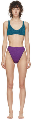 Oseree Blue and Purple Lurex Sporty Bikini