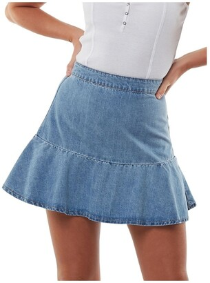 All About Eve Havana Flippy Denim Skirt Lt