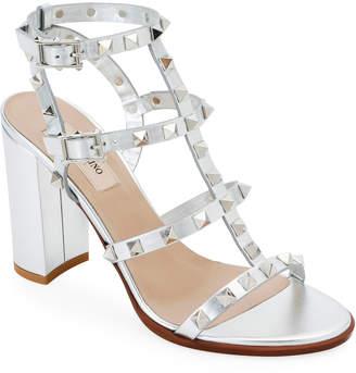 Valentino Garavani Rockstud Strappy Metallic Leather Block-Heel Sandals