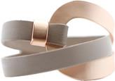 Saachi Style Style Women's Bracelets Taupe - Gray & Rose Goldtone Leather Overlap Bracelet