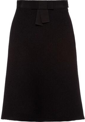 Miu Miu Boucle Tweed Skirt Bow-Embellished Skirt