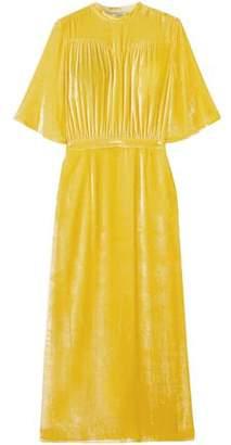 ATTICO Gathered Velvet Midi Dress