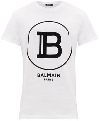 Balmain Flocked-logo Cotton T-shirt - Mens - White