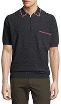 Lanvin Contrast-Trim Piqué Polo Shirt
