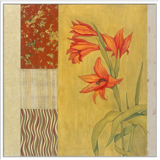 Jonathan Bass Studio Collage With Red Flowers #25, Decorative Framed Hand Embellished Canvas