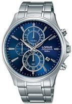 Lorus Rm309dx9 Chronograph Date Bracelet Strap Watch, Silver/navy