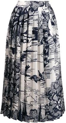 Victoria Victoria Beckham Pleated Print Skirt