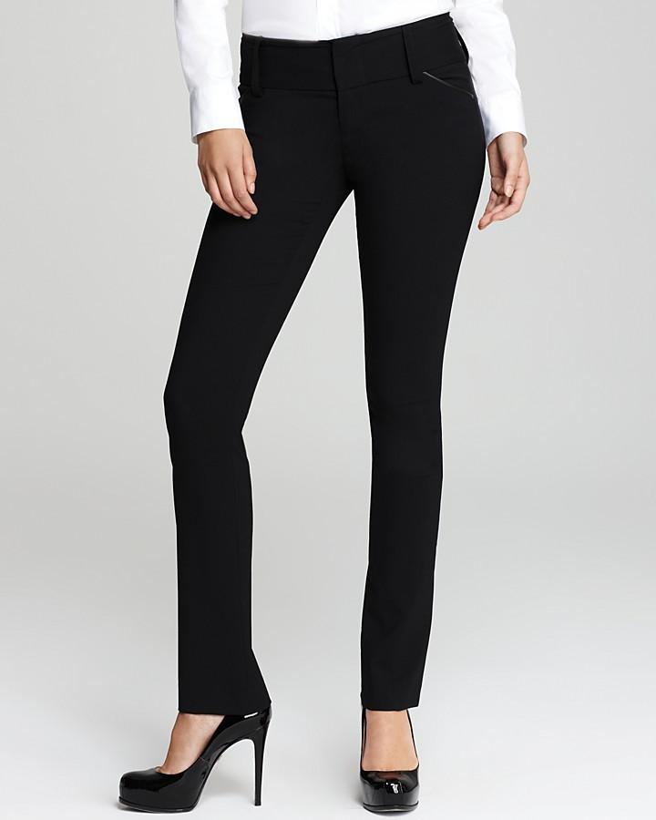 Alice + Olivia Leather Trim Olivia Slim Leg Pants