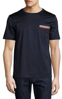 Salvatore Ferragamo Sateen-Effect Cotton T-Shirt w/ Grosgrain & Gancini Pocket Embroidery, Navy