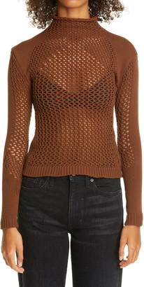 Isa Boulder Funnel Neck Mesh Sweater