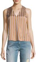 Giada Forte V-Neck Sleeveless Striped Top