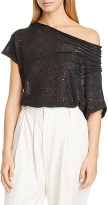 Brunello Cucinelli One-Shoulder Sequin Linen & Silk Sweater