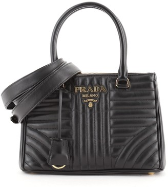 Prada Double Zip Tote Diagramme Quilted Leather Mini