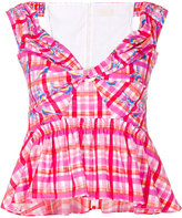 Peter Pilotto bardot checked bustier blouse