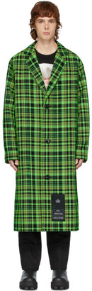 S.R. STUDIO. LA. CA. Green Open-Weave Check Trench Coat