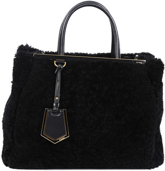 Fendi Black Shearling & Leather Medium 2Jours Satchel