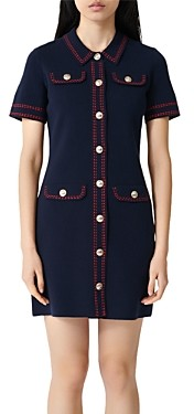 Maje Rosie Contrast-Stitch Knit Dress