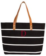 Cathy Women's Monogram Black Striped Tote with Leather Handles - Cathy's Concepts