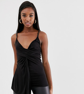 Asos Tall DESIGN Tall cowl front cami with tortoise chain straps-Black
