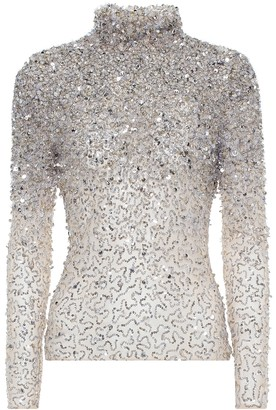 Valentino Sequin-embellished tulle top