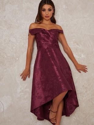 Chi Chi London Aliciya Printed Dip Him Dress - Berry