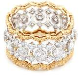 Buccellati 'Rombi Eternelle' diamond 18k yellow and white gold lattice ring