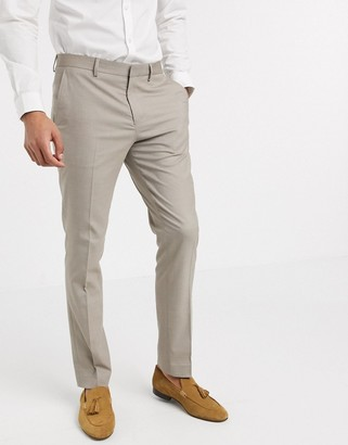 Selected skinny fit stretch suit pants in sand