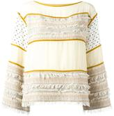 See by Chloe fringed patchwork top - women - Cotton/Acrylic/Polyester/Other fibres - 36