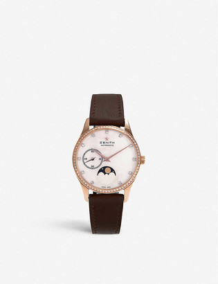 Zenith 22.2310.692/81.C709 Elite Lady Moonphase rose-gold and calfskin-leather automatic watch