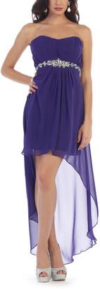 MayQueen Women's Special Occasion Dresses Purple - Purple Mesh-Overlay Hi-Low Dress - Women & Plus