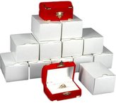 FindingKing 12 Double Ring Gift Boxes Red Flocked Jewelry Display