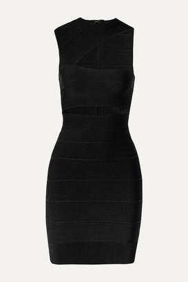 Herve Leger One-shoulder Cutout Bandage Mini Dress - Black