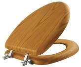 Mayfair Elongated Veneer Seat with Chrome Hinge Toilet Seat - Natural Oak
