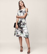 Reiss Naomi Printed Cold-Shoulder Dress