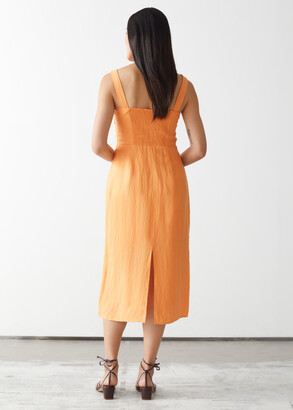 And other stories Strappy Linen Midi Dress