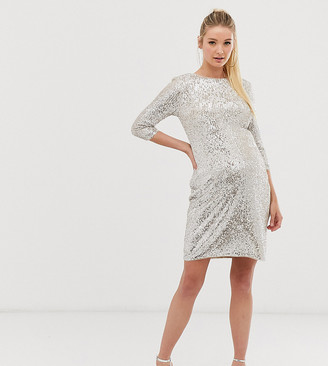 TFNC Maternity Maternity mini 3/4 length sleeve sequin dress in silver