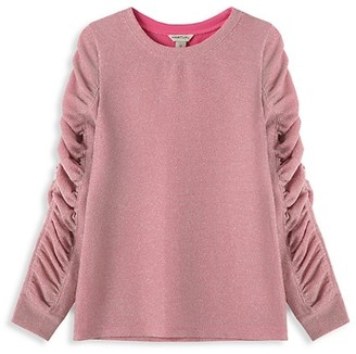 Habitual Girl's Gathered Lurex Sweatshirt