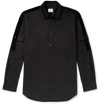 Burberry Slim-Fit Velvet-Trimmed Cotton-Poplin Shirt