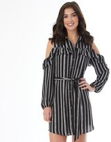 IZ Byer California Juniors' IZ Byer California Striped Cold-Shoulder Shirt Dress