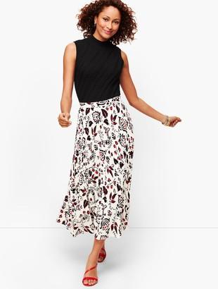 Talbots Pleated Flounce Hem Maxi Skirt