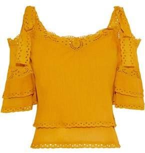 Love Sam Cold-shoulder Broderie Anglaise-trimmed Crinkled Cotton-gauze Blouse