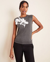 Ann Taylor Floral Applique Sweater Shell