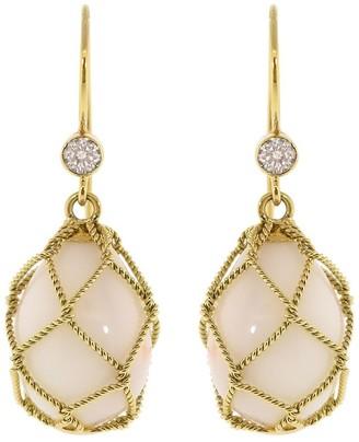 Verdura 18kt Yellow Gold Coral Net Drop Earrings