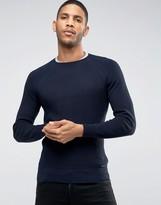 Diesel Crew Knit Sweater K-Alby Slim Fit Waffle in Navy