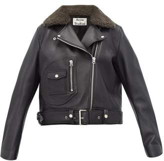Acne Studios Merlyn Shearling-collar Leather Biker Jacket - Womens - Black