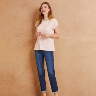 The White Company Slub Cotton Rib neck T-shirt, Navy, 16