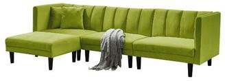 """George Oliver Jacobs 106.7"""" Wide Velvet Reversible Sleeper Sofa & Chaise with Ottoman Fabric: Light Green Velvet"""